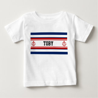 Kundenspezifische Seemarine-Weiß-Streifen Baby T-shirt