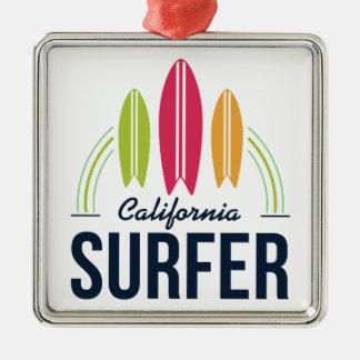 Kundenspezifische Standort-Surferverzierung Silbernes Ornament