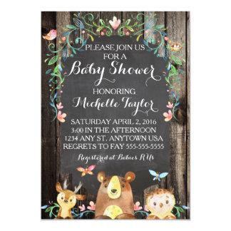 Kundenspezifische Waldtier-Babypartyeinladung 12,7 X 17,8 Cm Einladungskarte