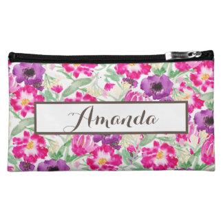 Kundenspezifische Watercolor-BlumennamensWristlet Cosmetic Bag