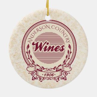 Kundenspezifische Weinbergnamenwein Rundes Keramik Ornament