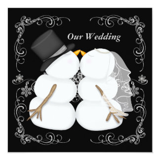 Kundenspezifische Winter-Hochzeits-Einladung Quadratische 13,3 Cm Einladungskarte