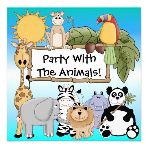 Kundenspezifische Zoo-Tier-Geburtstags-Einladung