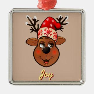 Kundenspezifischen Weihnachtsmanns Ren Quadratisches Silberfarbenes Ornament