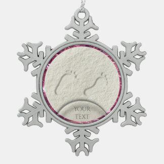 Kundenspezifischer Abdruck/Abdrücke auf sandigem Schneeflocken Zinn-Ornament