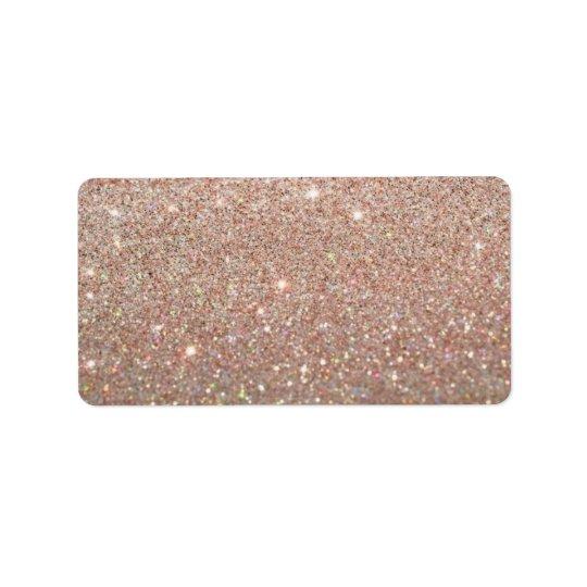 Kundenspezifischer Aufkleber - Rosen-Gold Glit Fab Adressaufkleber