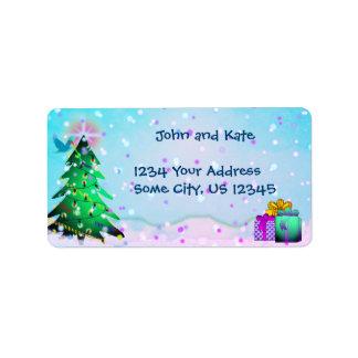 Kundenspezifischer bunter Weihnachtsbaum und Adressaufkleber