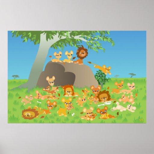 Kundenspezifischer Druck des Cartoon-Löwe-Stolzes Plakatdrucke