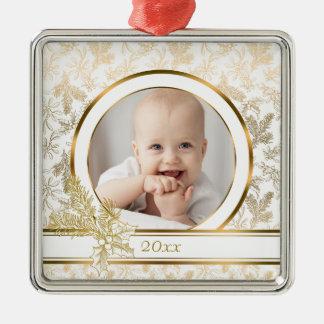 Kundenspezifischer Foto-Goldfeiertag mit Blumen Quadratisches Silberfarbenes Ornament