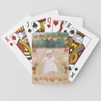 Kundenspezifischer Foto-Rahmen-metallische Herzen Spielkarten