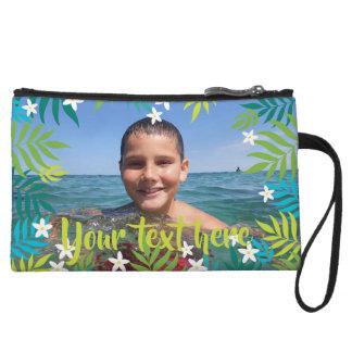 Kundenspezifischer Foto-Text-tropisches Grün Kleine Clutch