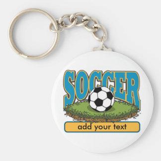 Kundenspezifischer Fußball addiert Text Standard Runder Schlüsselanhänger