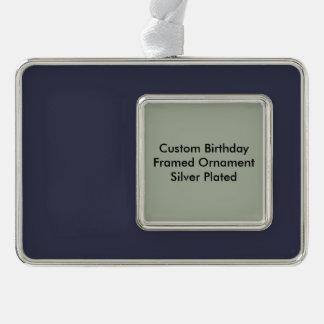 Kundenspezifischer Geburtstags-gerahmtes Rahmen-Ornament Silber