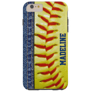 Kundenspezifischer gelber Softball-rotes Tough iPhone 6 Plus Hülle