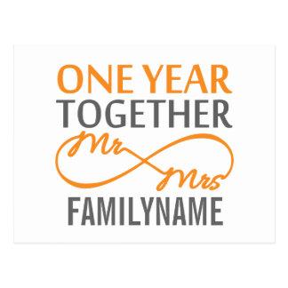 Kundenspezifischer Herr und Frau 1. Jahrestag Postkarte