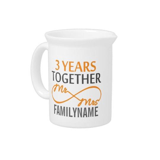 Kundenspezifischer Herr und Frau 3. Jahrestag Getränke Krug