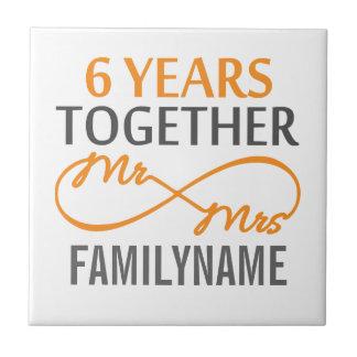 Kundenspezifischer Herr und Frau 6. Jahrestag Kleine Quadratische Fliese