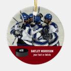 Kundenspezifischer Hockey-Foto-Spieler-Name, Team Keramik Ornament