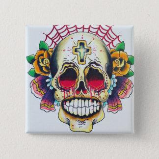kundenspezifischer hübscher Todesschädel Quadratischer Button 5,1 Cm