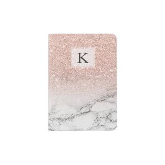 Kundenspezifischer Imitat-Rosenrosa-Glitter ombre Passhülle