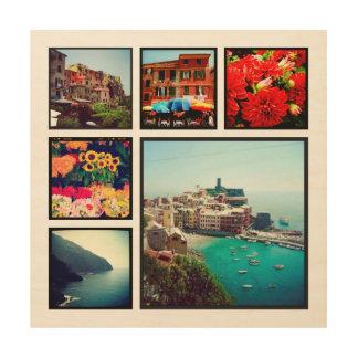 Kundenspezifischer Instagram Foto-Collagen-Druck Holzleinwand