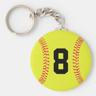 Kundenspezifischer Jersey-Zahl Fastpitch Softball Schlüsselanhänger