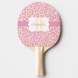Kundenspezifischer Leopard-rosa und gelbes Tischtennis Schläger