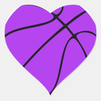 Kundenspezifischer lila Basketball Herz-Aufkleber