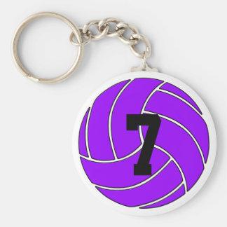 Kundenspezifischer lila Volleyball Keychain Schlüsselanhänger