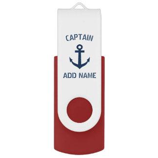 Kundenspezifischer Marineblauseeankerbootskapitän USB Stick