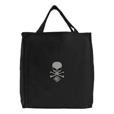 Kundenspezifischer mit Monogramm Schädel gestickte Bestickte Tasche