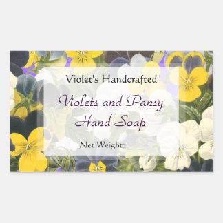 Kundenspezifischer Pansy und Veilchen-Seifen-oder Rechteckiger Aufkleber