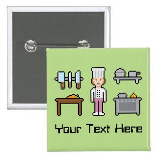 Kundenspezifischer Pixel-Frau-Koch Quadratischer Button 5,1 Cm
