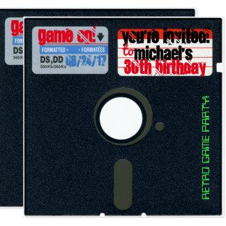 Kundenspezifischer Retro Spiel-Geburtstag laden Quadratische 13,3 Cm Einladungskarte