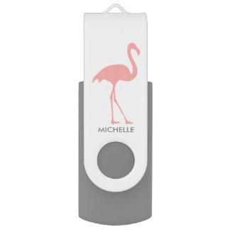 Kundenspezifischer rosa Flamingovogelschwenker Swivel USB Stick 2.0