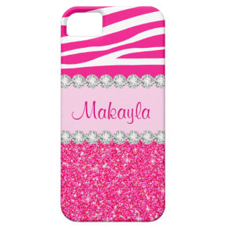 Kundenspezifischer rosa Glitter-GlitzernZebra iPhone 5 Schutzhülle