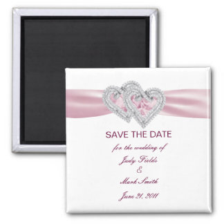 Kundenspezifischer rosa Herz-Save the Date Magnet Quadratischer Magnet