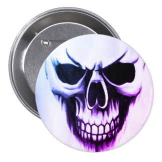 kundenspezifischer Sensenmannschädelknopf Runder Button 7,6 Cm