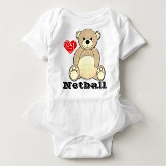 Kundenspezifischer Teddy-Bärn-Druck-LiebeNetball Baby Strampler