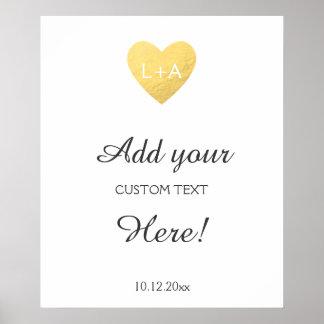 Kundenspezifischer Text des Hochzeitszeichens, Poster