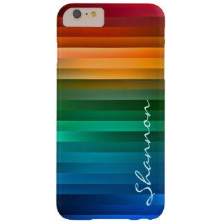 Kundenspezifischer Text-Regenbogen-Streifen iPhone Barely There iPhone 6 Plus Hülle