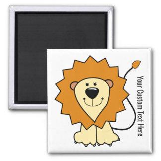 Kundenspezifischer Textmagnet der Löweillustration Quadratischer Magnet