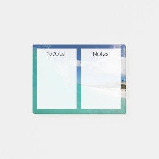 Kundenspezifischer tropischer Strand der Text-| Post-it Klebezettel