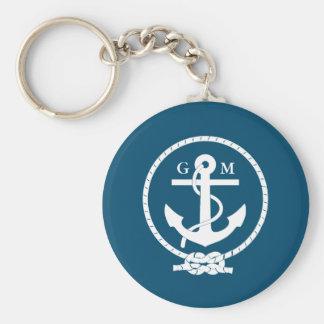 Kundenspezifischer Vintager Seeanker und Linie Schlüsselanhänger