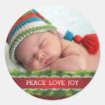 Kundenspezifischer WeihnachtsfriedensLiebe-Freude- Runder Sticker