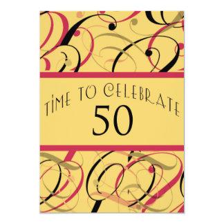 Kundenspezifischer Wirbels-50. Geburtstags-Party 12,7 X 17,8 Cm Einladungskarte