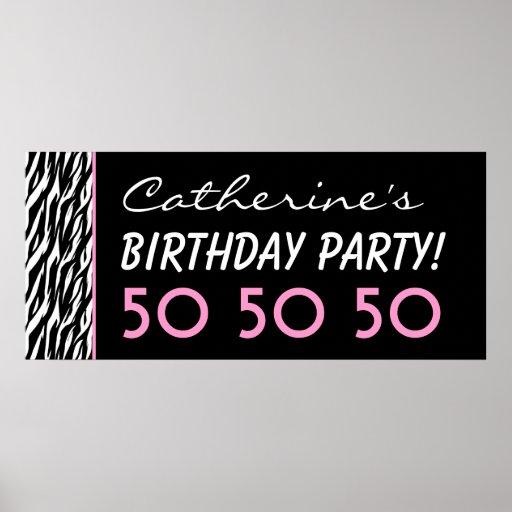 Kundenspezifischer Zebra-50. Geburtstags-Party ode Plakatdrucke
