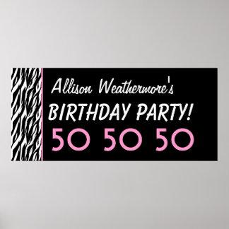Kundenspezifischer Zebra-50. Geburtstags-Party ode Plakatdruck