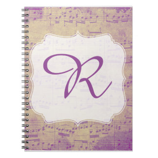 Kundenspezifisches Anfangsmusik-Notizbuch lila Spiral Notizblock