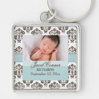 Kundenspezifisches Baby-Damast-Foto Keychain Blau Schlüsselanhänger